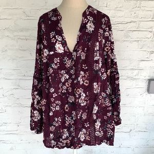 Torrid tunic blouse purple floral relaxed lace top